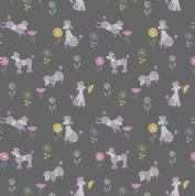 Lewis & Irene - Poodle & Doodle - 6366 - Grey Poodles on Charcoal - A362.3 - Cotton Fabric